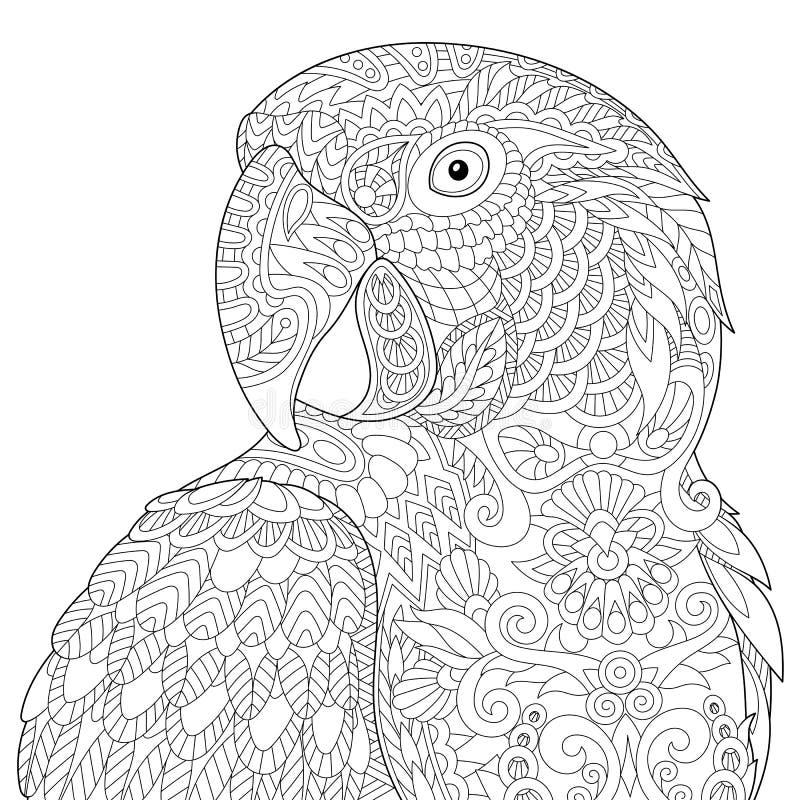 Zentangle传统化了金刚鹦鹉 皇族释放例证