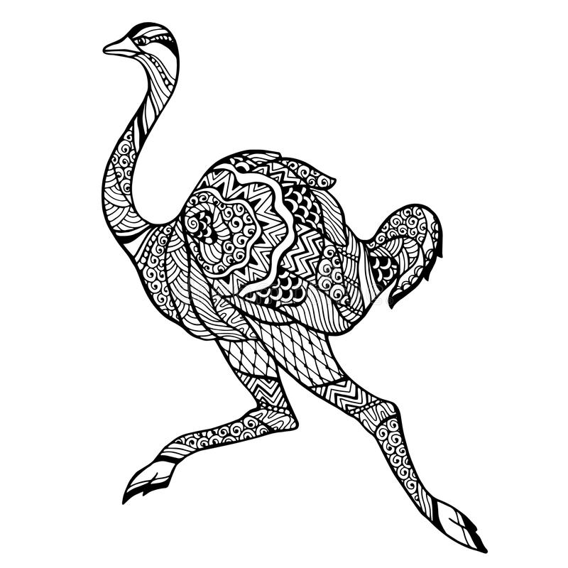 Zentangle传统化了驼鸟 库存例证