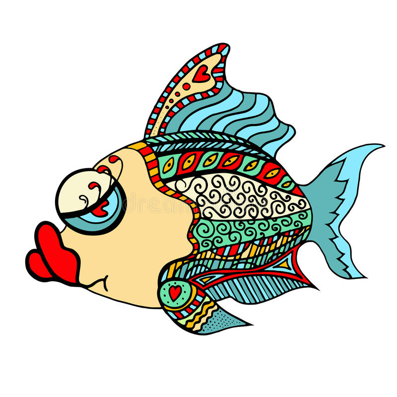 Zentangle传统化了鱼 向量例证