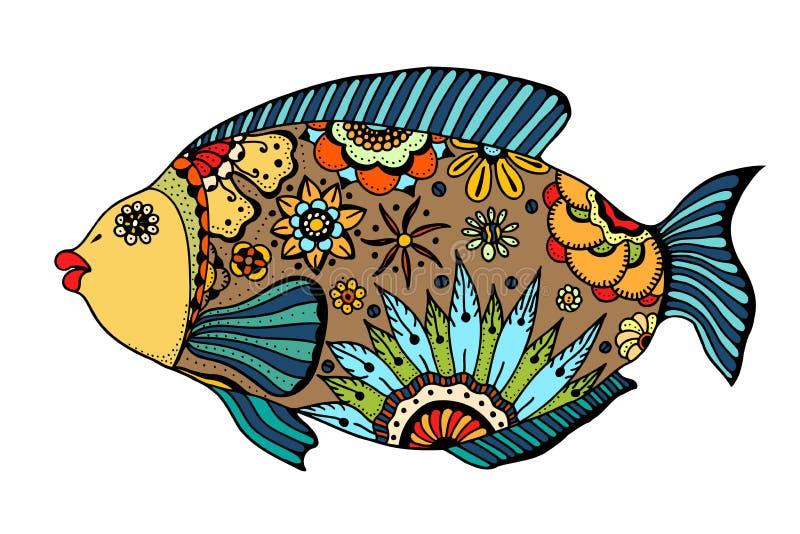 Zentangle传统化了鱼 皇族释放例证