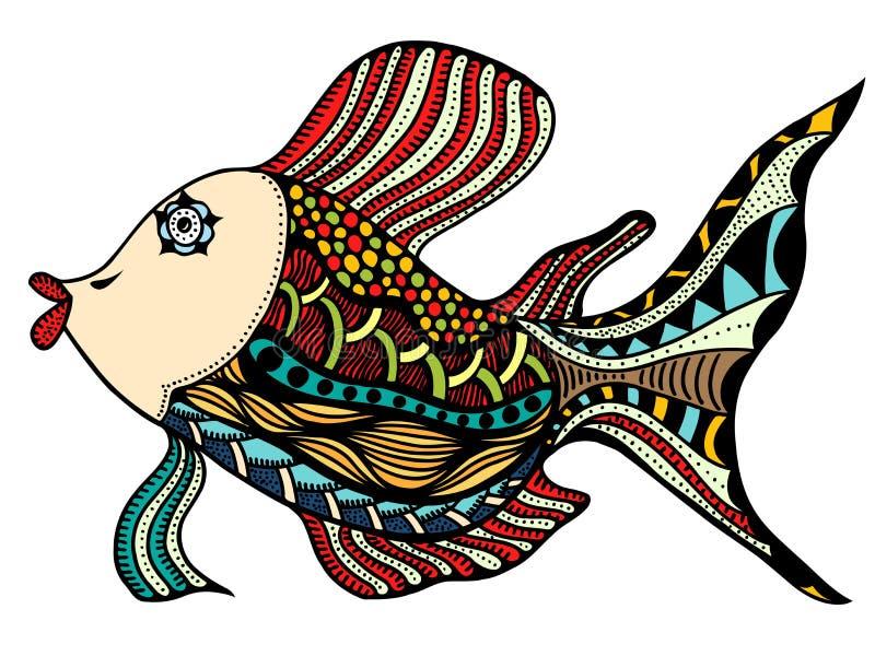 Zentangle传统化了鱼 库存例证