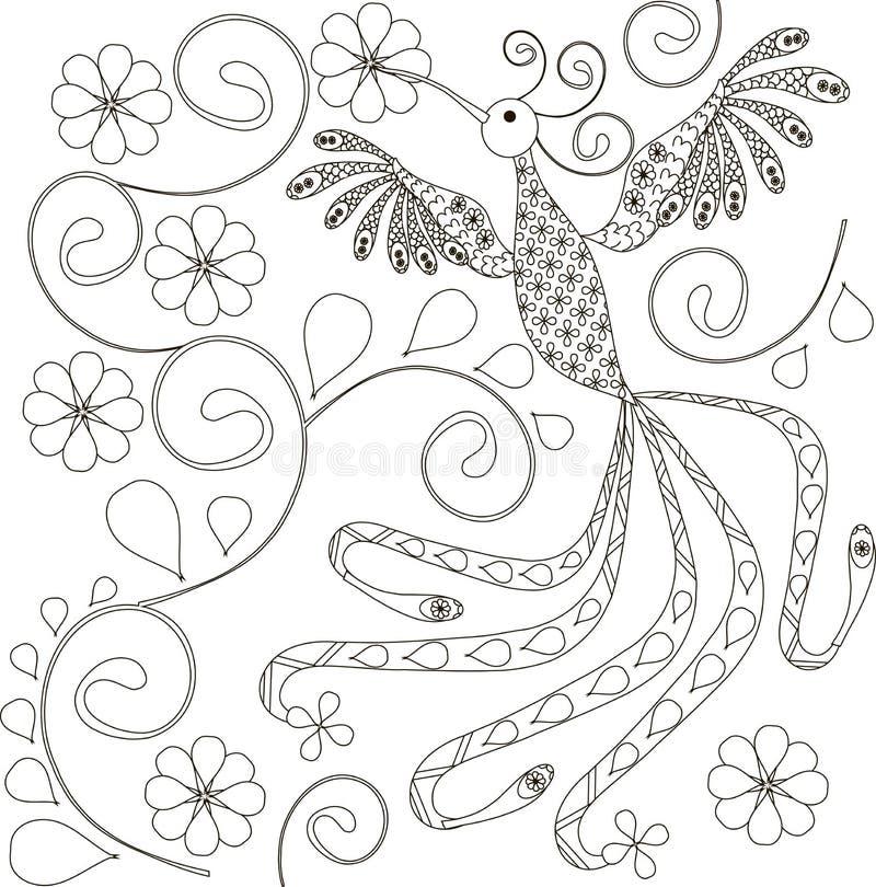 Zentangle传统化了鸟黑白手拉 库存例证