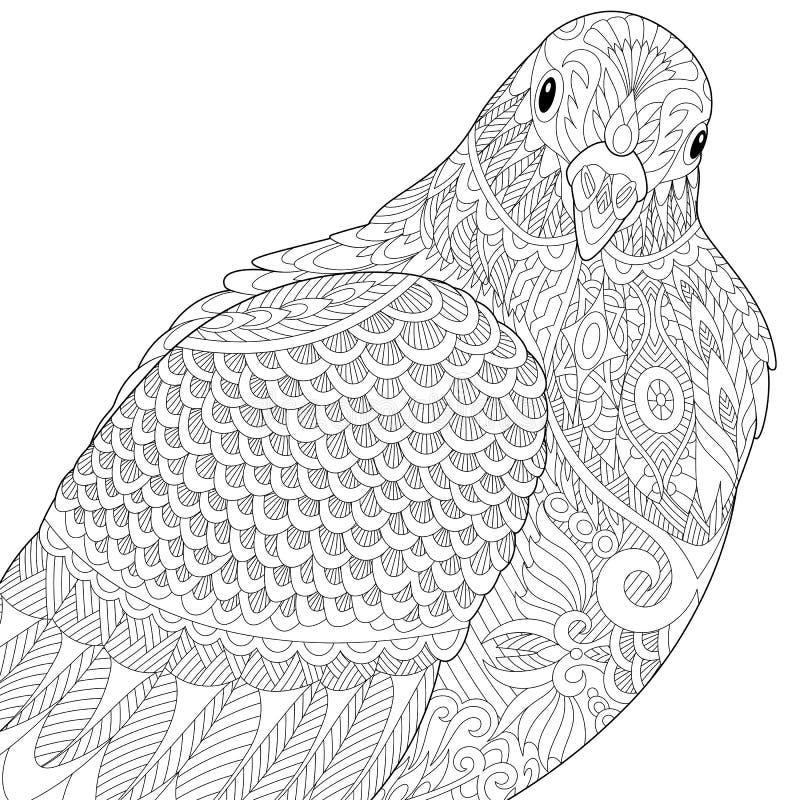 Zentangle传统化了鸠或鸽子 库存例证
