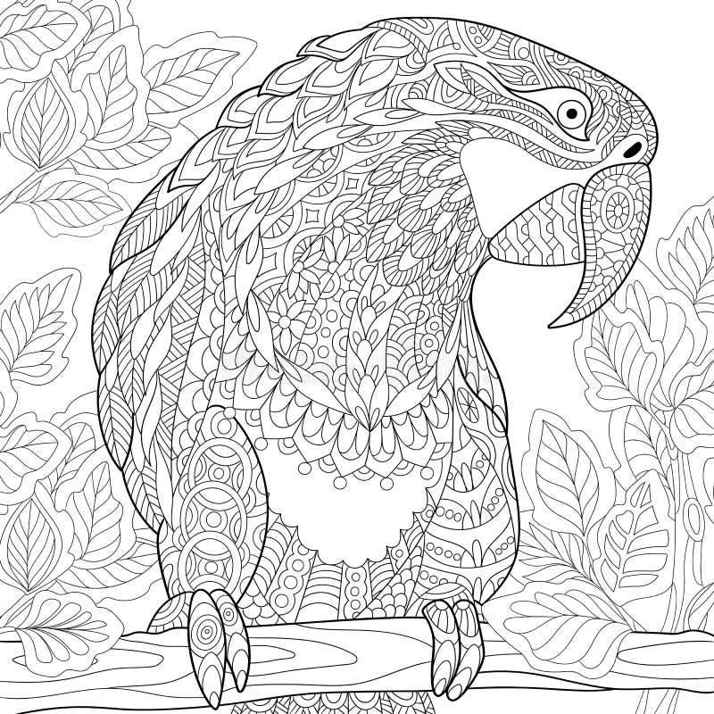 Zentangle传统化了鹦鹉-金刚鹦鹉 向量例证