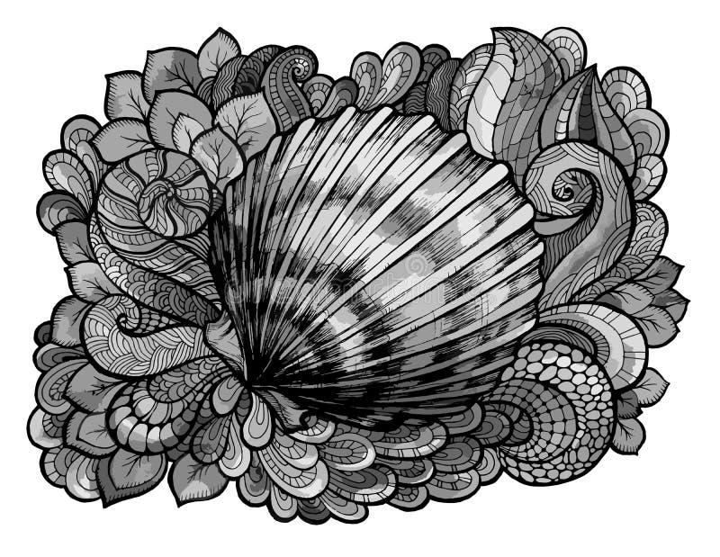 Zentangle传统化了贝壳在灰色树荫下上色的线艺术  手拉的水生乱画传染媒介例证 草图 皇族释放例证