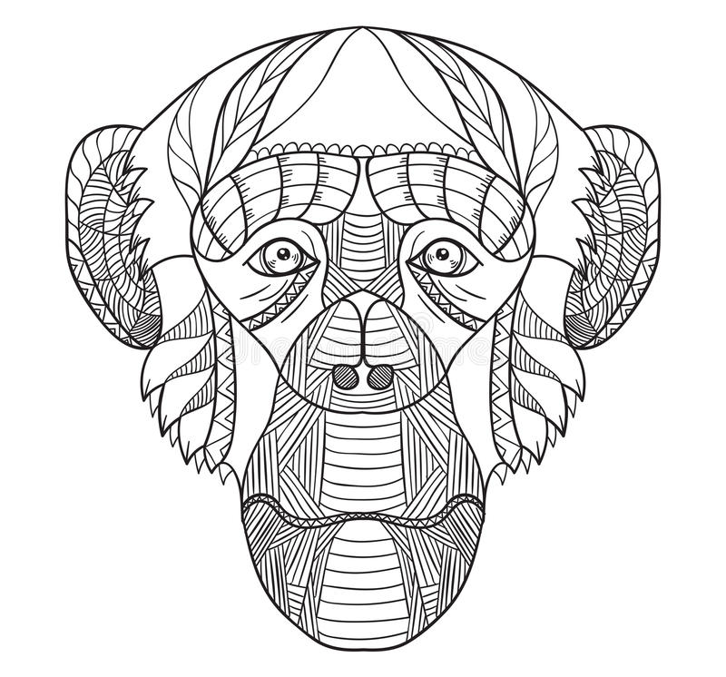 Zentangle传统化了黑猩猩头,中国黄道带,传染媒介, illu 皇族释放例证