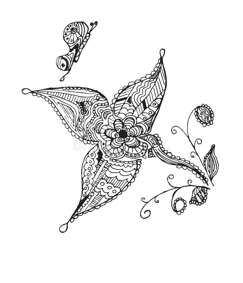 Zentangle传统化了蝴蝶,花,叶子,传染媒介例证 皇族释放例证
