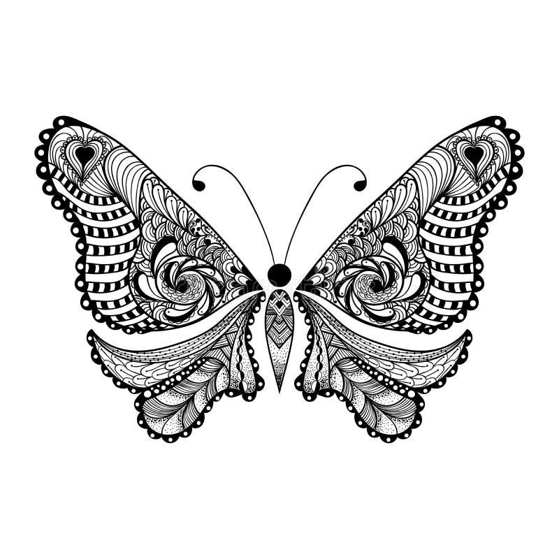 Zentangle传统化了黑蝴蝶 拉长的现有量 库存例证