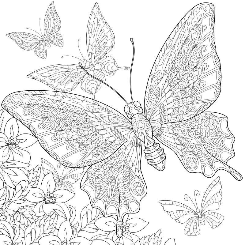 Zentangle传统化了蝴蝶 库存例证
