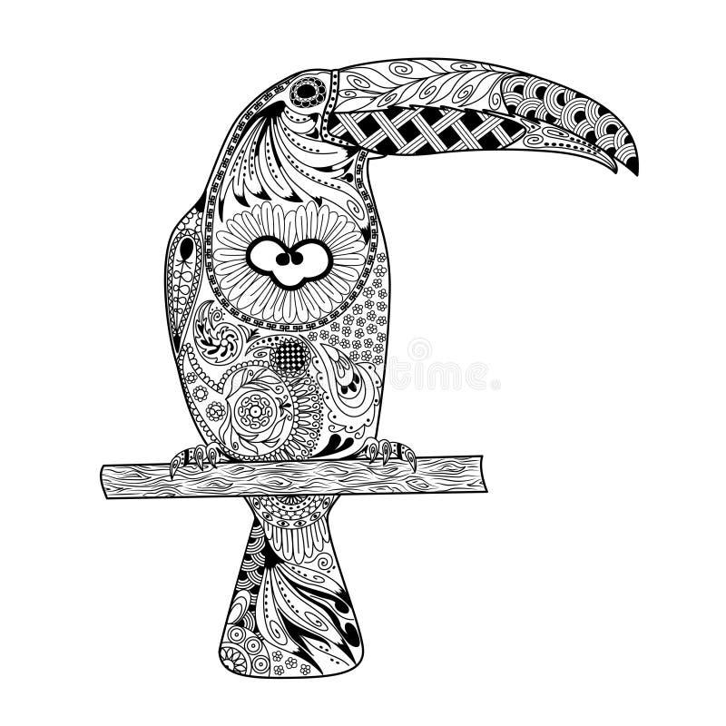 Zentangle传统化了toucan 手拉的乱画传染媒介 库存例证