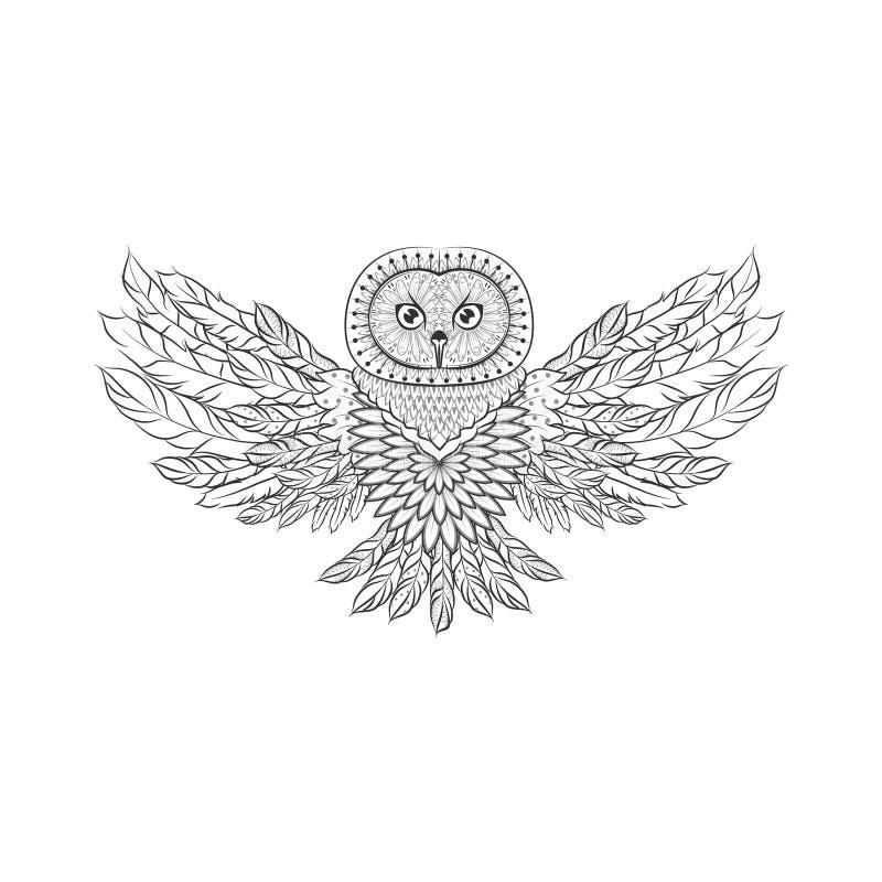 Zentangle华丽猫头鹰 纹身花刺剪影传染媒介例证 库存例证