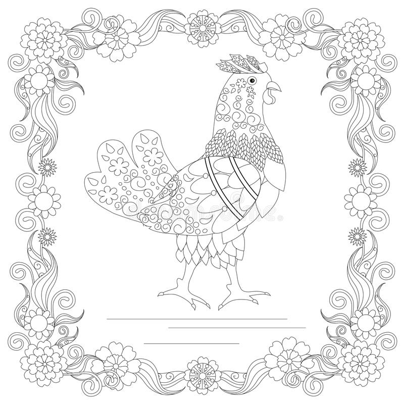 Zentangle在花框架单色剪影,上色页antistress储蓄传染媒介例证的样式鸡 向量例证