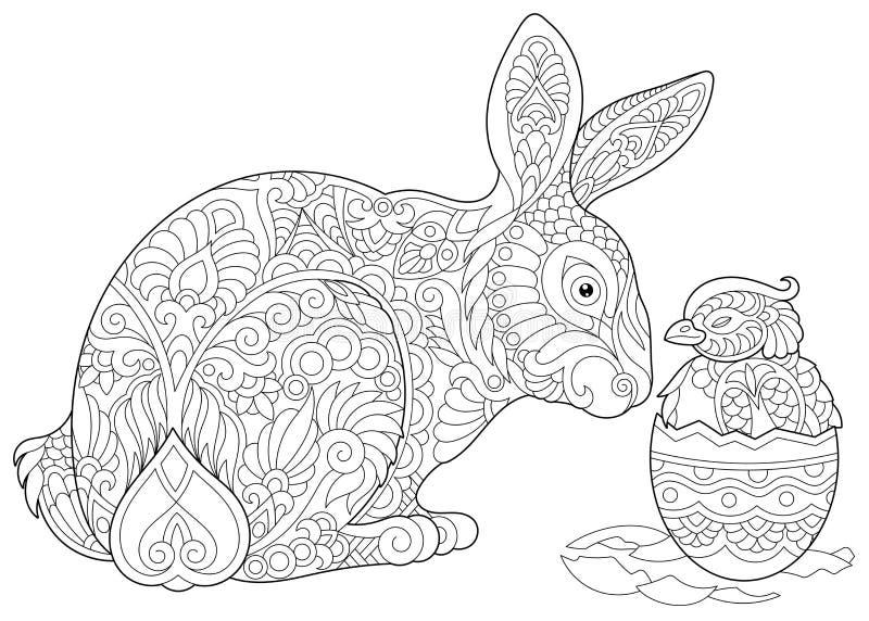 Zentangle复活节兔子和小鸡 皇族释放例证