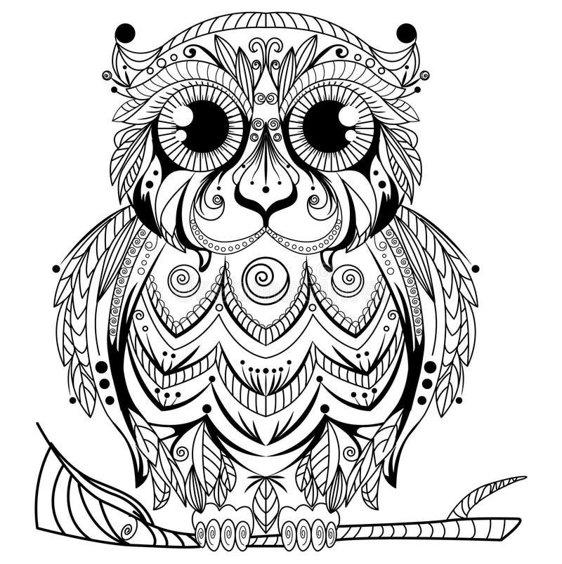 Zentangle摘要猫头鹰设计 库存例证