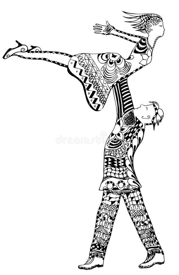 Zentangle样式,拿着妇女空气的,传染媒介的人,徒手画, 库存例证