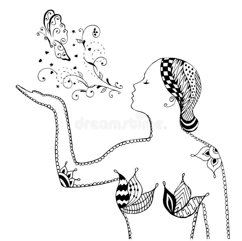 Zentangle样式,漩涡,女孩吹的蝴蝶,花,传染媒介, 库存例证