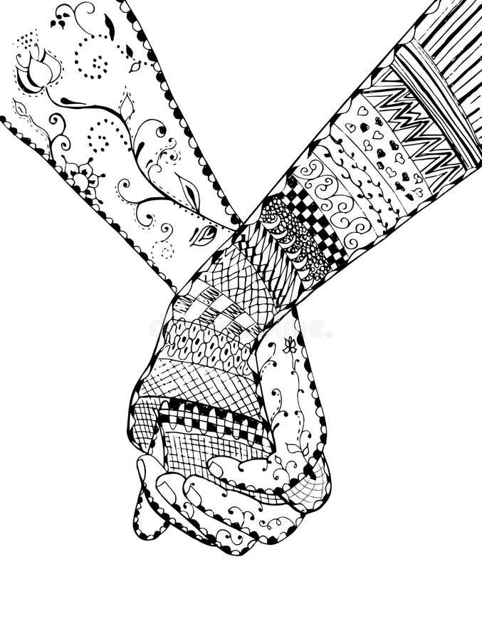Zentangle样式-结合握手,漩涡,花,传染媒介, i 库存例证