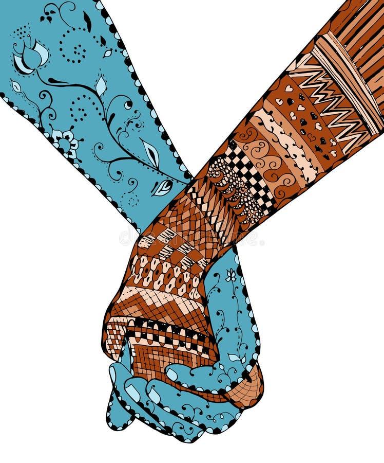 Zentangle样式-结合握手,漩涡,花,传染媒介, i 皇族释放例证