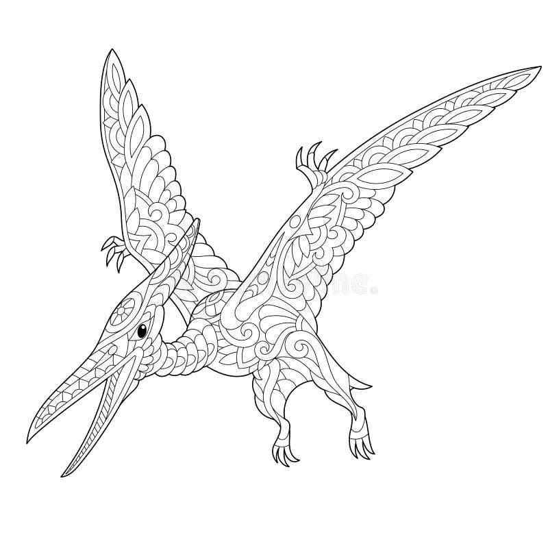 Zentangle翼手龙恐龙 皇族释放例证
