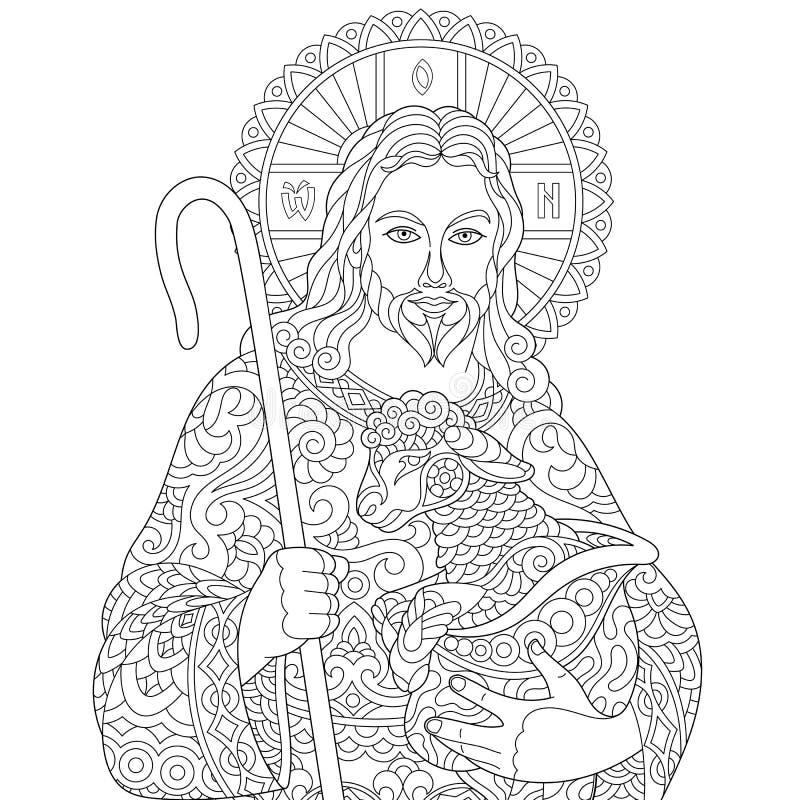 Zentangle耶稣基督 库存例证