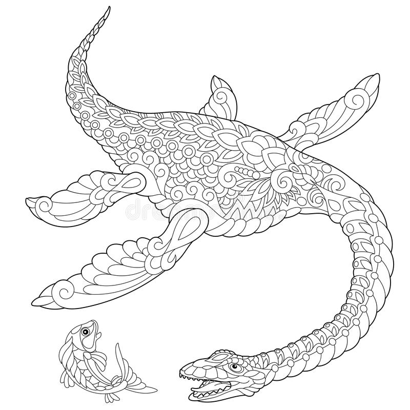 Zentangle蛇颈龙恐龙 皇族释放例证
