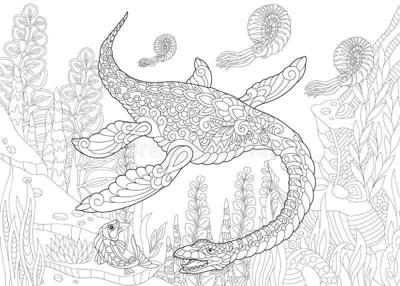 Zentangle蛇颈龙恐龙 库存例证