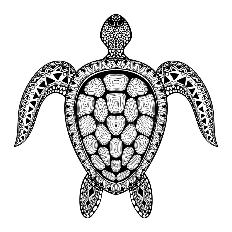Zentangle部族风格化乌龟 手拉的水生乱画vect 皇族释放例证