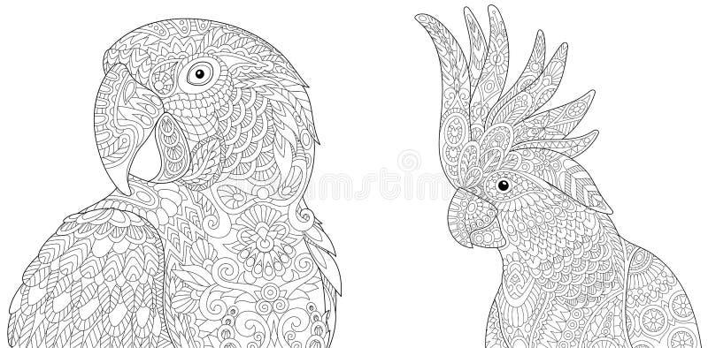 Zentangle金刚鹦鹉ara和美冠鹦鹉 皇族释放例证