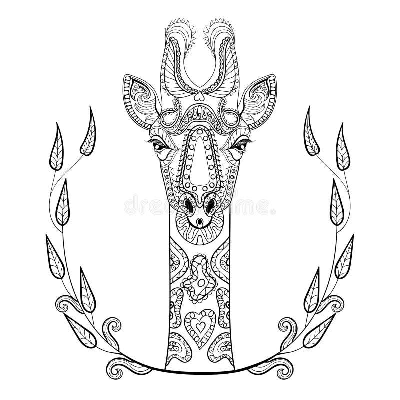 Zentangle长颈鹿在框架的头图腾的成人反重音 皇族释放例证
