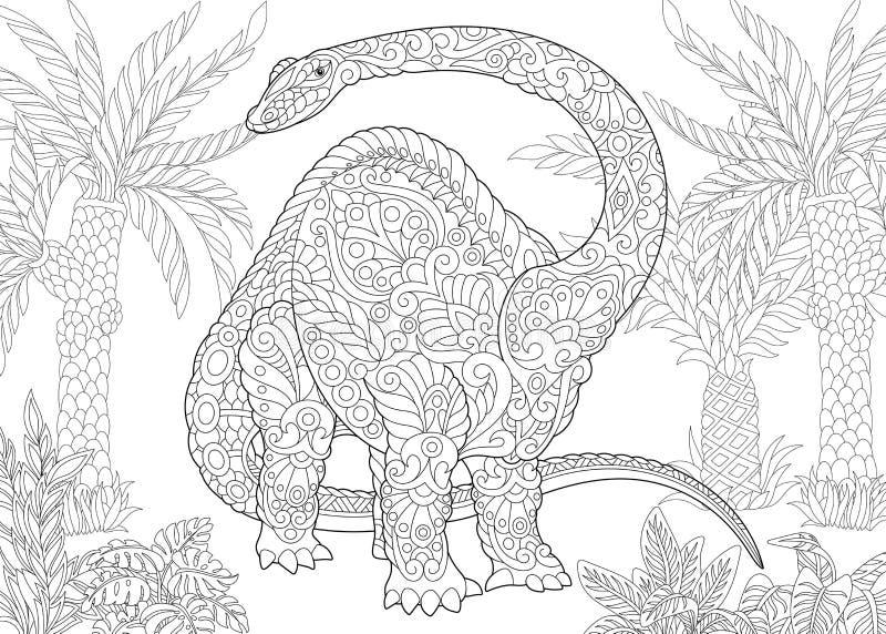 Zentangle雷龙恐龙 库存例证