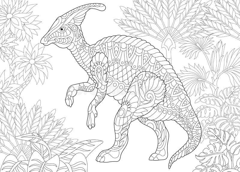 Zentangle鸭嘴龙恐龙 库存例证