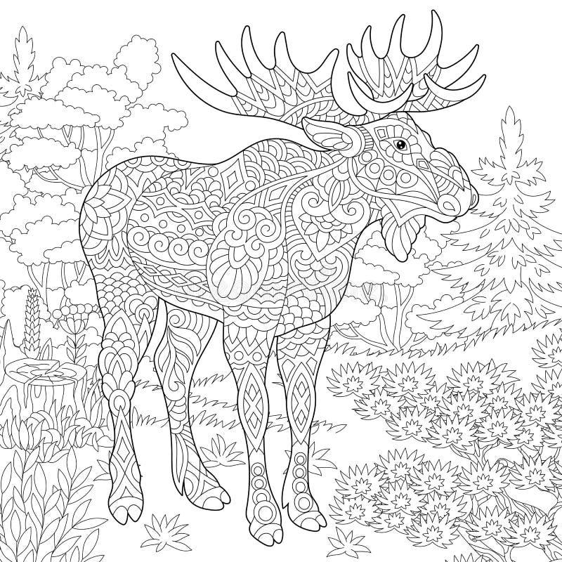Zentangle łosia amerykańskiego lasu zwierzę ilustracja wektor