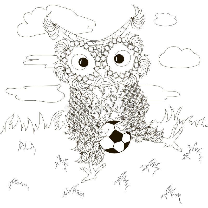 Zentangle, τυποποιημένες γραπτές κουκουβάγιες που κάθεται με το ποδόσφαιρο στο χορτοτάπητα, σύννεφα, σχέδιο χεριών ελεύθερη απεικόνιση δικαιώματος