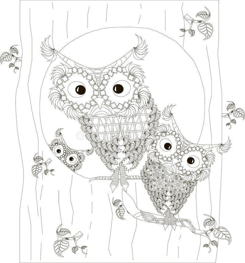 Zentangle, τυποποιημένη γραπτή οικογενειακή συνεδρίαση κουκουβαγιών στον κοίλο και στους κλάδους του κορμού δέντρων, χέρι που σύρ διανυσματική απεικόνιση