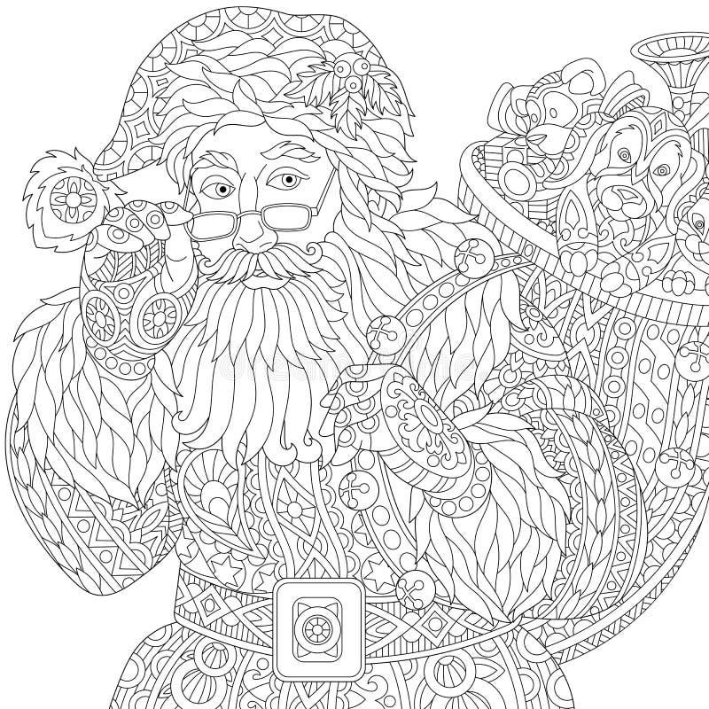 Zentangle τυποποιημένος Άγιος Βασίλης ελεύθερη απεικόνιση δικαιώματος