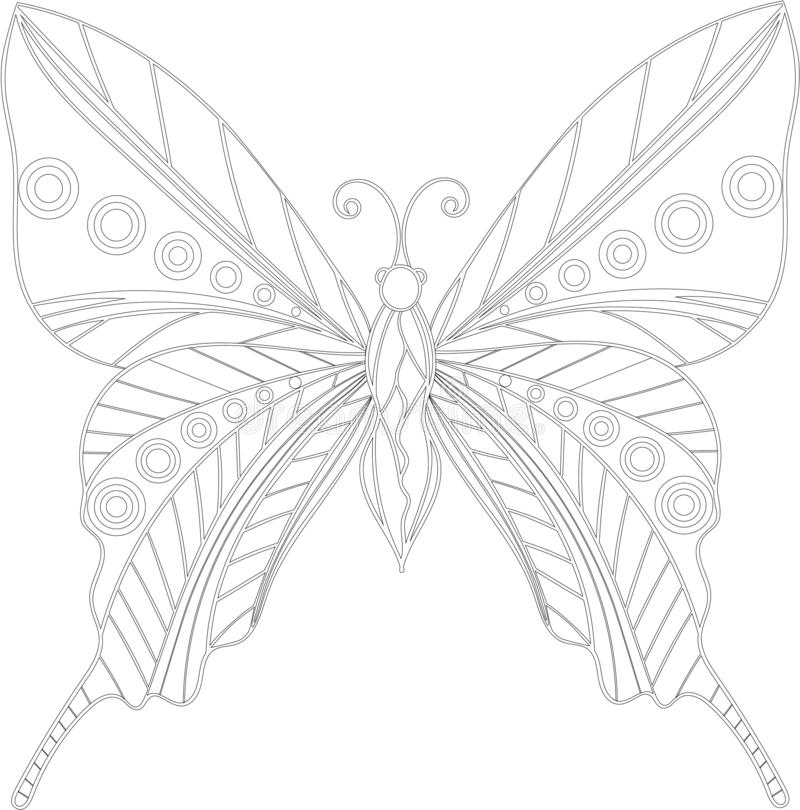 Zentangle бабочки иллюстрация вектора