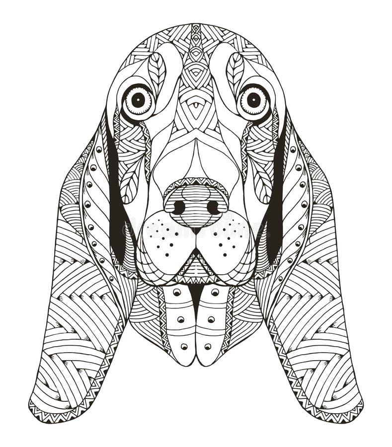 Zentangle головы гончей выхода пластов стилизованное иллюстрация вектора