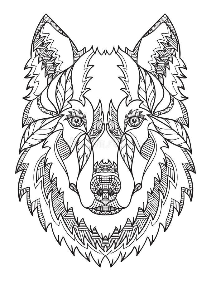 Zentangle головы серого волка, doodle стилизованное, вектор, иллюстрация, freehan иллюстрация вектора