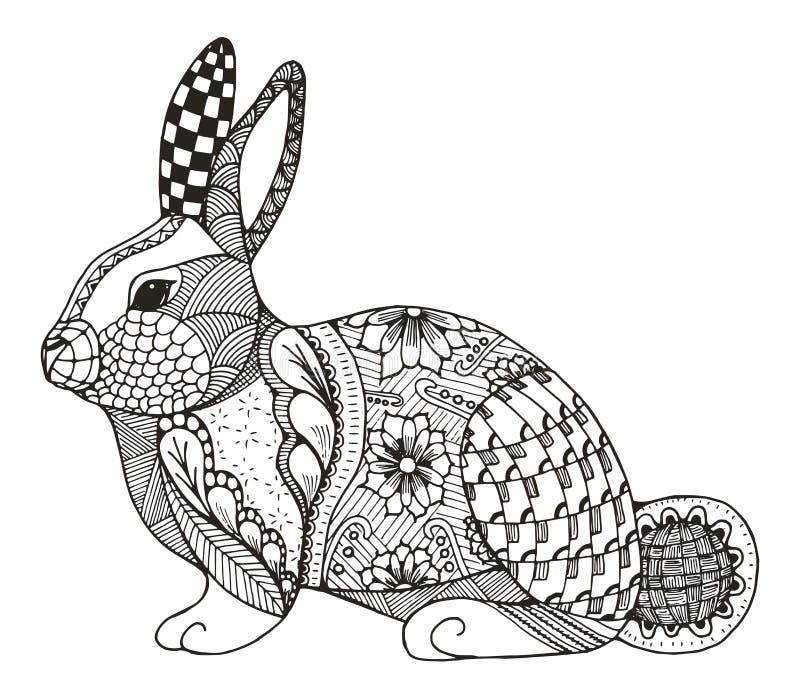 Zentangle кролика стилизованное стоковое изображение