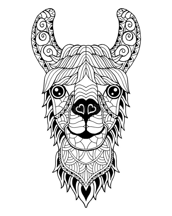 Zentangle мандалы альпаки ламы стилизованное Freehand illustr вектора стоковое изображение rf