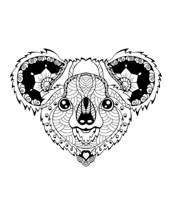 Zentangle медведя коалы стилизованное freehand иллюстрация вектора стоковая фотография