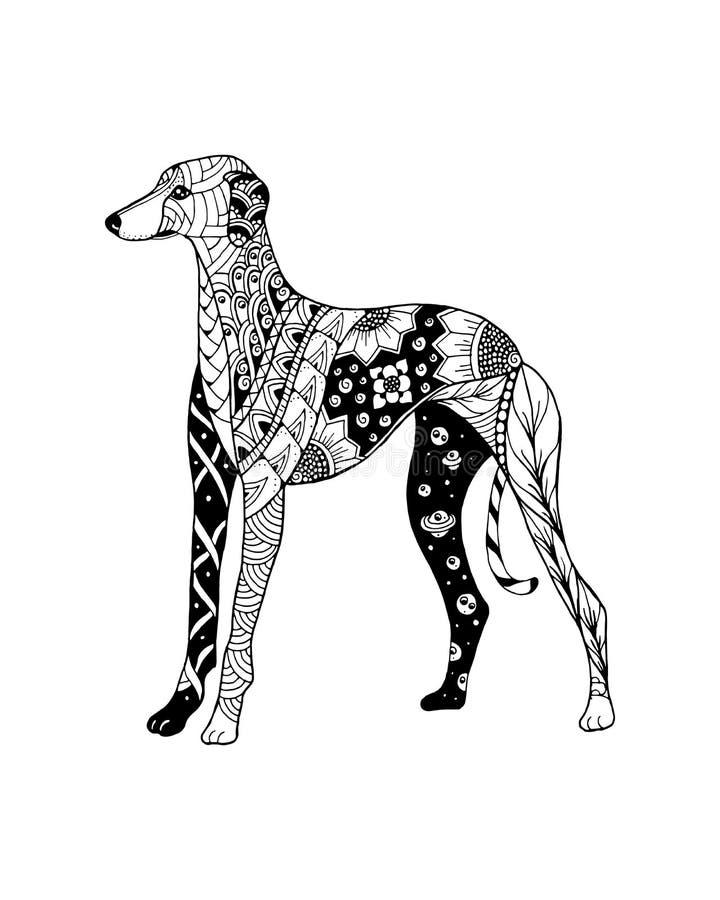 Zentangle собаки борзой стилизованное freehand иллюстрация вектора стоковая фотография rf