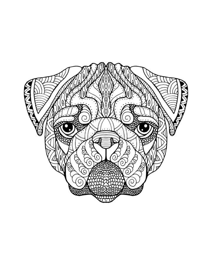 Zentangle собаки мопса стилизованное freehand иллюстрация вектора иллюстрация вектора