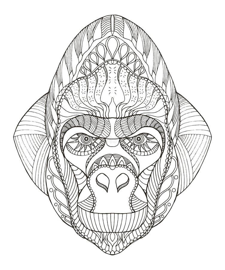 Zentangle стилизованное, вектор гориллы головное, иллюстрация, freehand бесплатная иллюстрация