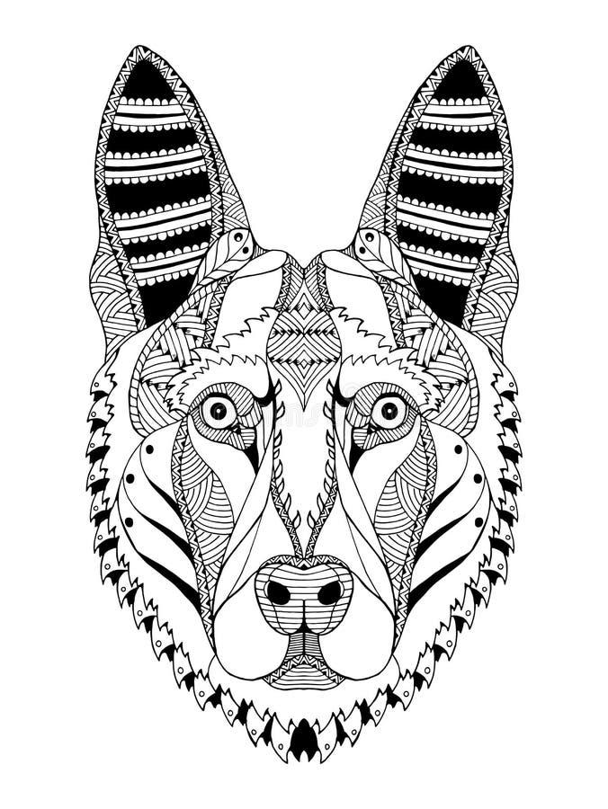 Zentangle стилизованное, вектор головы собаки немецкой овчарки, иллюстрация иллюстрация штока