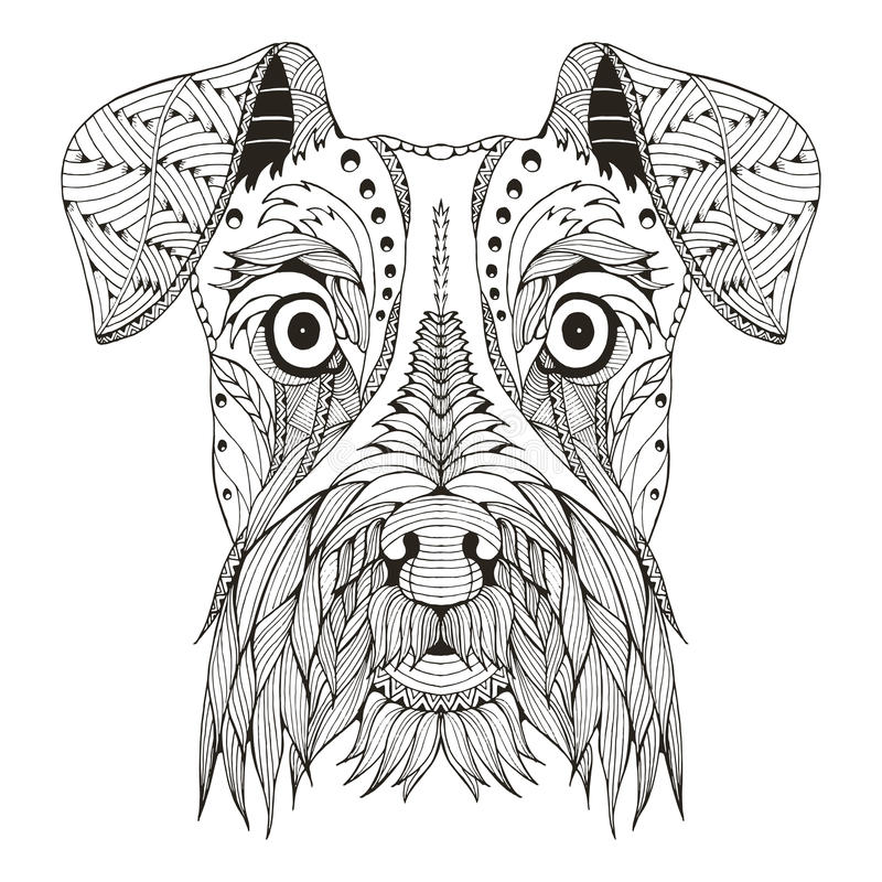 Zentangle стилизованное, вектор головы собаки шнауцера, иллюстрация стоковые фото
