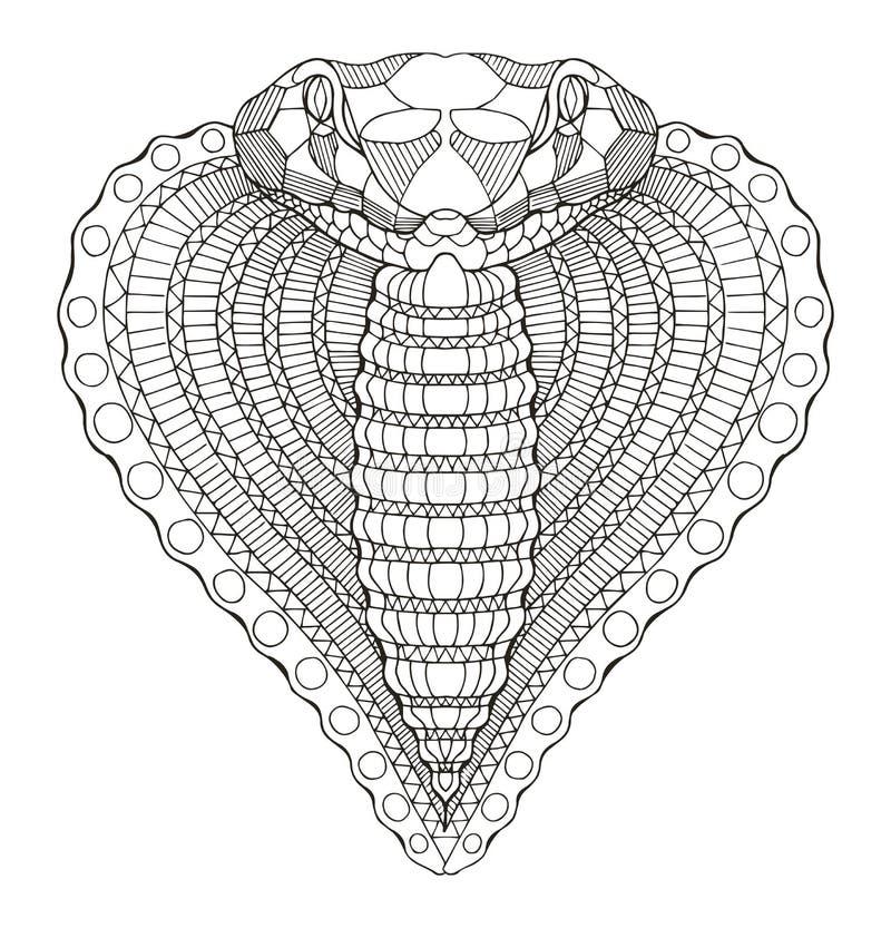 Zentangle стилизованное, вектор головы формы сердца змейки кобры иллюстрация вектора