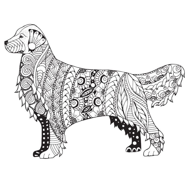 Zentangle стилизованное, вектор собаки золотого retriever, иллюстрация, f иллюстрация вектора