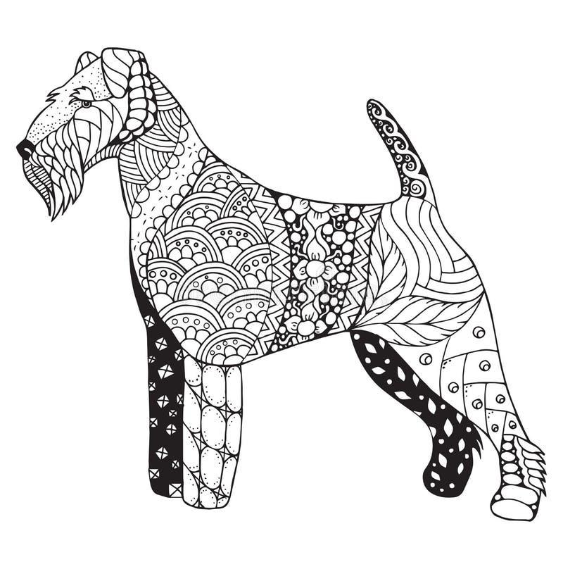 Zentangle стилизованное, вектор собаки терьера Welsh, иллюстрация, свободная бесплатная иллюстрация