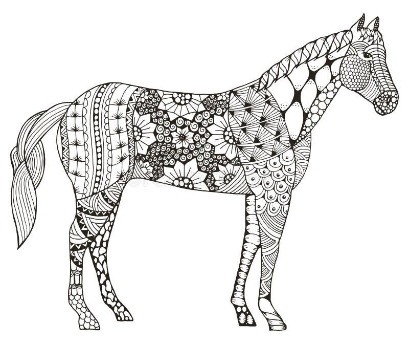 Zentangle стилизованное, иллюстрация знака зодиака лошади китайское вектора иллюстрация штока